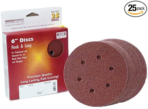 25-Pack Sungold Abrasives 32505 6 By 6 Hole 60 Grit Heavyweight Paper Premium F-Weight Paper Psa Stick-On Sanding Discs