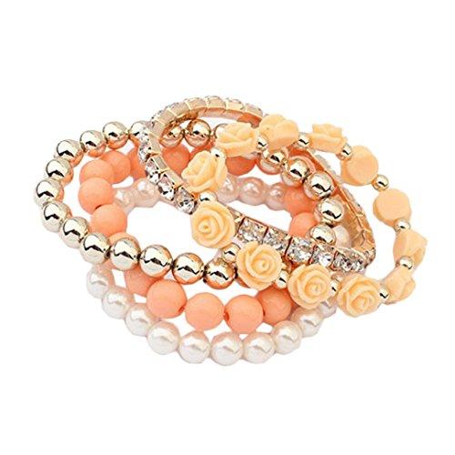 Bolayu 1 Set Acrylic Rose Flower Round Pearl Shining Rhinestone Crystal Elastic (Gold Elegant Double Ring Bracelet)