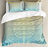 Art Queen Size Duvet Cover Set by Ambesonne, Thai Pattern Design Illustration of Gold Tree Oriental Culture Asia Eastern Ways, Decorative 3 Piece Bedding Set with 2 Pillow Shams, Gold Sky Blue