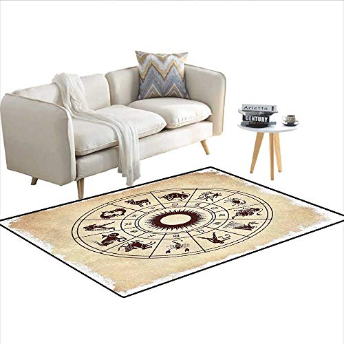 Carpet,Wheel of Horoscope Icons on The Distressed Backdrop Cosmos Occult Print Artwork,Area Silky Smooth Rugs,Brown Beige (Union Distressed Belt)