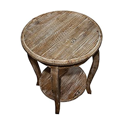 """Austerity Reclaimed Wood Round End Table, Driftwood - Assembled dimensions: 20"""" W x 20"""" D x 24"""" H Curved legs and scalloped edges for a stylized look Open shelf on the bottom is perfect for storing photo albums, books, magazine or other decorative accents - living-room-furniture, living-room, end-tables - 51HxPRLNrYL. SS400  -"""