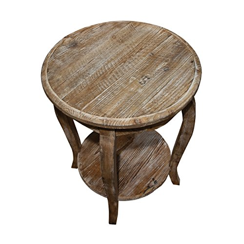 - Austerity Reclaimed Wood Round End Table, Driftwood