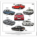Ford XR Models 1980-89 --- Fine Art Print XR2, XR2i, XR3, XR3i, XR4i & XR4x4 Ready to frame. by golden era