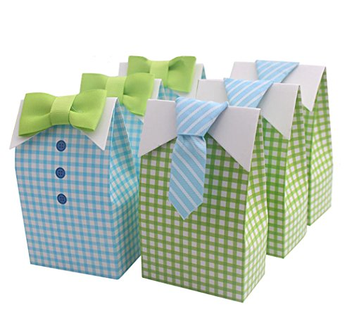 Christening Bag - Homanda 50pcs Bow Tie Style Party Favor Gift Box Christening Baby Shower Party Favors Baby Birthday Party Gift Bag Boxes