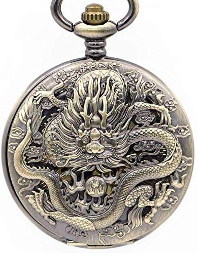 懐中時計、ヴィンテージマットブロンズ回転可能なシェル手風機械式男性用女性用ギフト