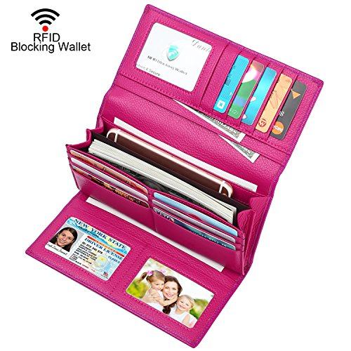 Lavemi RFID Blocking Trifold Leather Checkbook Clutch Wallet for Women(Rose Red) ()