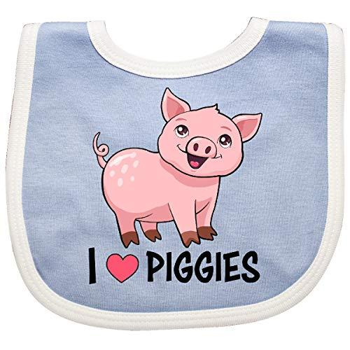 Inktastic - I Love Piggies- Cute Pig Baby Bib Blue/White 34584