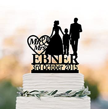 Amazon.com: Family Wedding Cake topper with boy, bride and groom ...