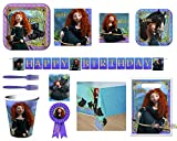 Disney Brave Merida Party Supply Bundle for 8 Guests - Plates, Napkins, Cups, Utensils, Tablecover, Birthday Banner, Treat Bags and Medal
