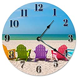 Large 10.5 Wall Clock Decorative Round Wall Clock Home Decor Novelty Clock COLORED BEACH CHAIRS