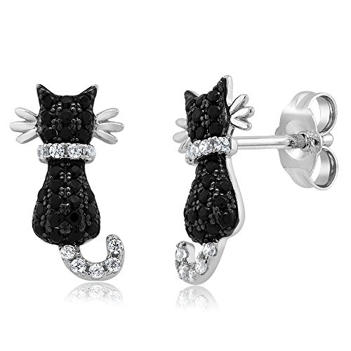 925 Sterling Silver Cat Stud Earrings 0.54 Ctw Black and White Cubic Zirconia