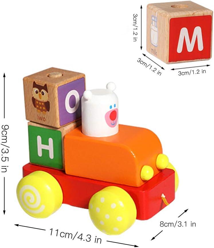 XIAPIA Trenes de Juguete,Juguetes Montessori Juegos Educativos Brio Tren Madera con Bloques ABC Tren Juguete de Madera Regalos para Ni/ños de Navidad de Cumplea/ños Playtive