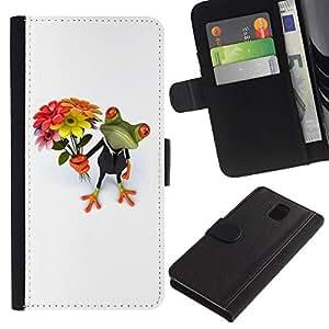 WINCASE Cuadro Funda Voltear Cuero Ranura Tarjetas TPU Carcasas Protectora Cover Case Para Samsung Galaxy Note 3 III - valentines rana día blanco blanco
