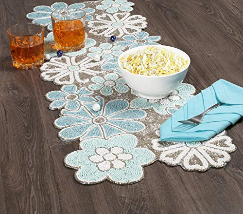 Floral Leaf Flower Beaded Table Runner Multi Color - Home Decor Mat for Wedding Christmas Decoration Family Gathering - Pack of 1 Measure 13 x 36 inches ...