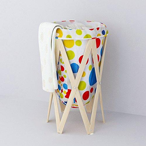 Foldable Pop-Up Solid Wood Frame Canvas Storage Laundry Basket/ Hamper - Colorful Circular Pattern