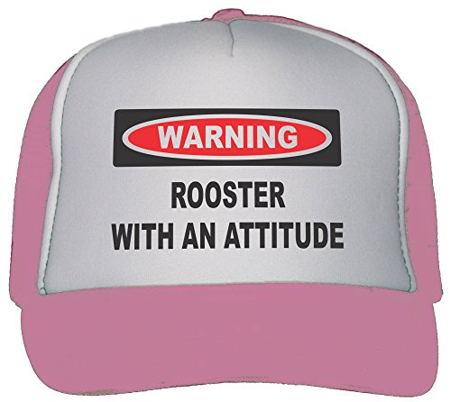 Rooster with an Attitude Trucker Hat Cap Pink