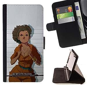 BullDog Case - FOR/Sony Xperia m55w Z3 Compact Mini / - / jail mug shot woman orange jumpsuit /- Monedero de cuero de la PU Llevar cubierta de la caja con el ID Credit Card Slots Flip funda de cuer