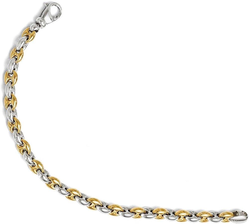 Leslies Sterling Silver Gold-tone Flash 18k Plated Link Bracelet Length 7