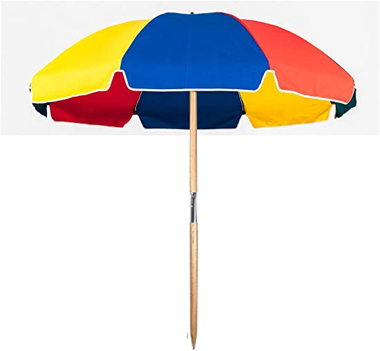 7.5 ft.Steel Commercial Grade Beach Umbrella with Ash Wood Pole Carry Bag