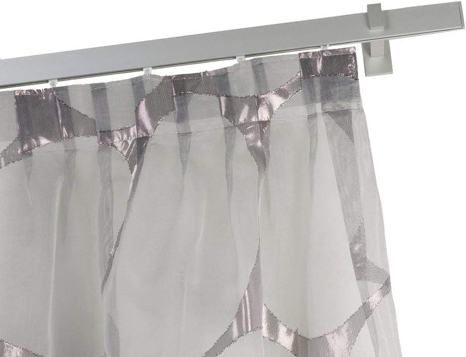 140 cm InCasa Binario per Tende 32x12mm Completo in Alluminio Satinato L