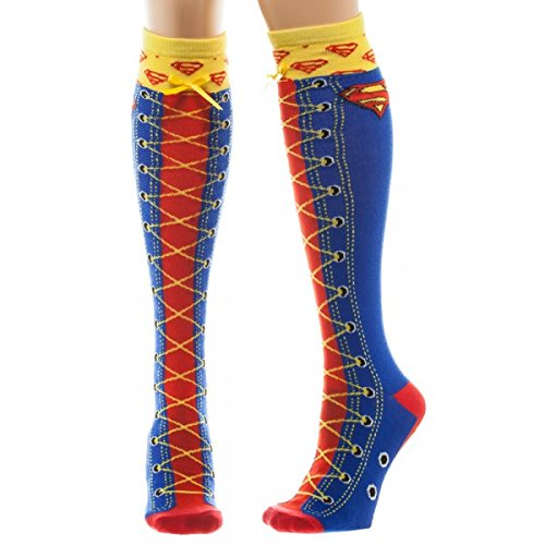 Knee High Socks - Superman - Faux Lace Up New Toys kh2mz1spm BIOWORLD