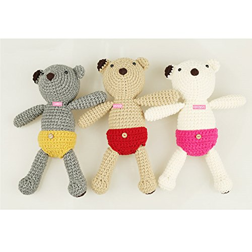 iHanco Cute Big Teddy Knitting DIY Kit Gray