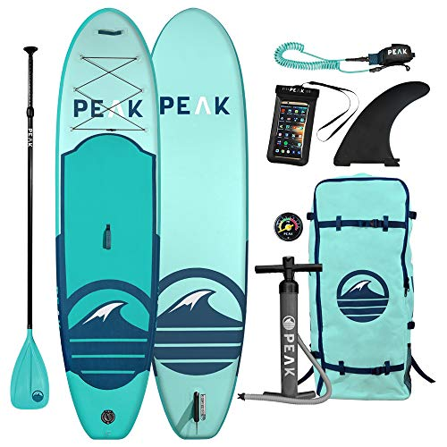 Peak 10'6' All Around Inflatable Stand Up Paddle Board | 6' Thick iSUP and Accessory Pack | Durable and Lightweight | 32' Stable Wide Stance with Non-Slip Deck | 300 lb Capacity (Aqua - 2017, 10'6)