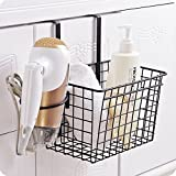 Chris.W Over-The-Cabinet/Drawer Grid Basket Kitchen Storage Organizer for Aluminum Foil/Sandwich Bags/Cleaning Supplies, w/ Detachable Hair Dryer Holder(Black)