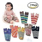 Bers Cute Animal Theme Unisex Leg Sleeve Warmers Socks Leggings Baby Girls Boys Toddler Knee High Stockings for Crawling Baby Socks Leg Warmers - Knee Socks Protector Warmer (7 pack)