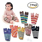 Bers Cute Animal Theme Unisex Leg Sleeve Warmers Socks Leggings Baby Girls Boys Toddler Knee High Stockings for Crawling Baby Socks Leg Warmers - Knee Socks Protector Warmer (7 pack)