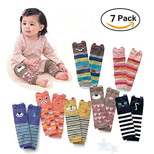 me Unisex Leg Sleeve Warmers Socks Leggings Baby Girls Boys Toddler Knee High Stockings for Crawling Baby Socks Leg Warmers - Knee Socks Protector Warmer (7 pack) (Baby Arm Leg)