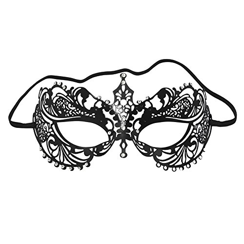 ANGAZURE Masquerade Mask For Women Laser Cut Black Metal Venetian Mask (Style 1)