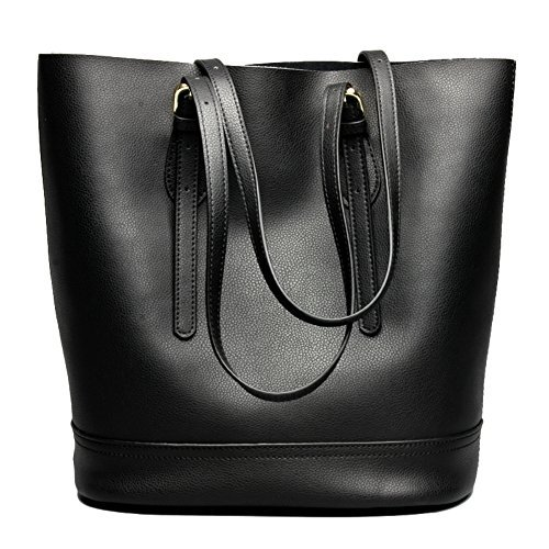 Women's Handbag Genuine Leather Tote Shoulder Bucket Bags Elegant Style Large Capacity (Black) ()