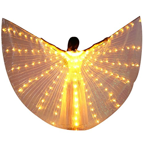 LED Isis Wings - Belly Dance Light Up Wings Party Club Wear with Flexible Sticks for Women/Girls(Yellow)]()