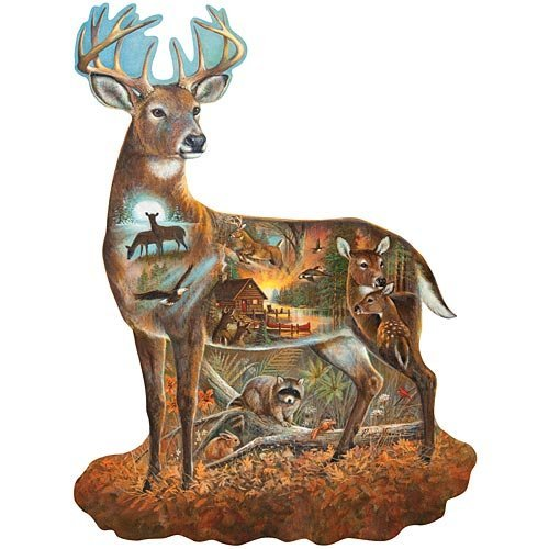 In All His Glory Deer Shaped 750 Piece Puzzle by Ruane Manning