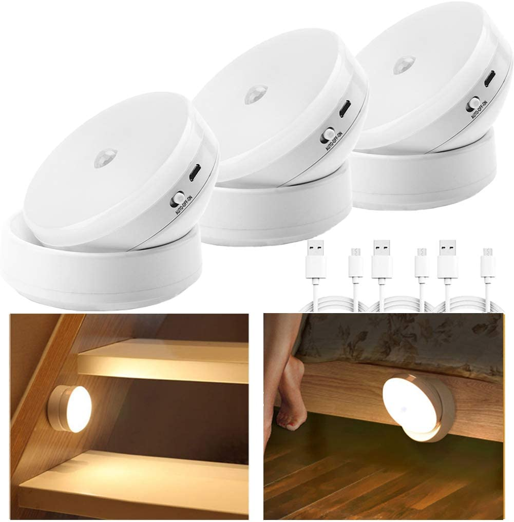 USB Rechargeable Night Light, Sensor Led Lights,Smart Motion Sensor Light with Magnetic Base,Portable and Mobile Light for Cabinet Bedroom Kitchen Hallway Stairs,Warm White 3 Pack