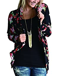 AMiERY Women's Floral Kimono Boyfriend Cardigan Open...