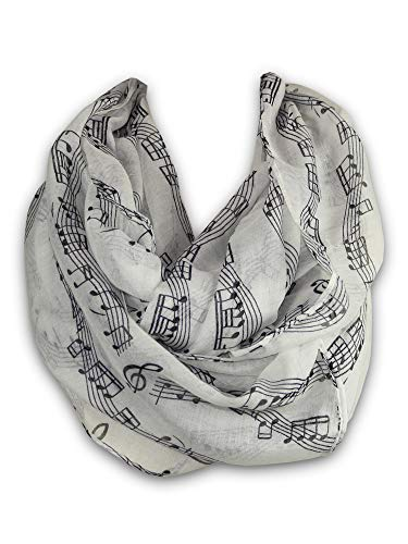 (KnitPopShop Music Note Infinity Loop Scarf for Women in the Summer (White))