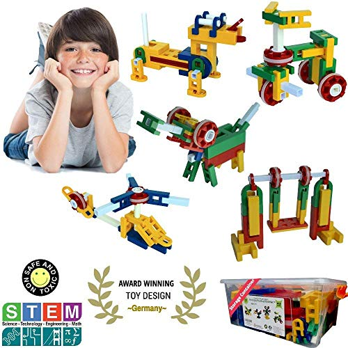 Whirligig STEM Toys | Building Blocks for Boys & Girls 5 Year Old+ | Creative Construction Educational Engineering Erector Set | 106 Pieces | Best Kids Gift Kit for Ages 5, 6, 7, 8, 9, 10 Yr.