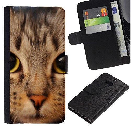 OMEGA Case / HTC One M8 / kitten American shorthair Maine coon / Cuero PU Delgado caso Billetera cubierta Shell Armor Funda Case Cover Wallet Credit Card