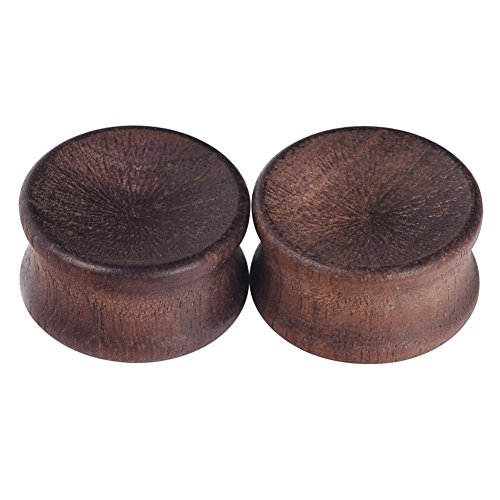 2pcs Concavity Wooden Ear Gauges Ear Plugs Expander Tunnels Ear Piercing Jewelry ()