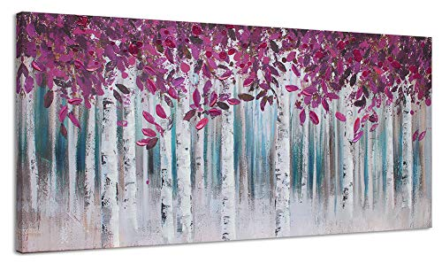 Large Purple White Birch Forest Painting Canvas Wall Art Decoration for Living Room Landscape Picture Modern Abstract Hand Painted Artwork Decor Hang in Bedroom Office Home