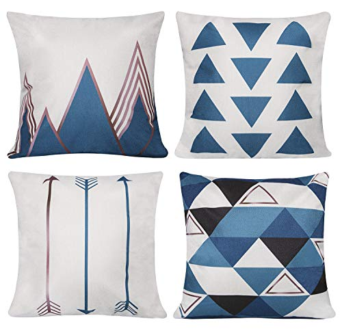 Unves Throw Pillow Covers, 18x18 Set of 4 Decorative Pillows Cotton Linen Couch Sofa Pillow Covers Bedroom Living Room Toss Pillows Throw Pillow Sets Simple Geometric Style Pillows Blue