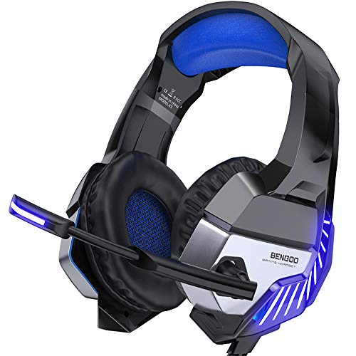 BENGOO K8 Gaming Headset for PS4, Xbox One, PC, Mac, Noise Cancelling Over  Ear Headphones with Microphone, Bass Surround Stereo, LED Lights Game