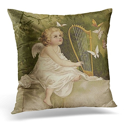 VANMI Throw Pillow Cover Cherub Little Angel with Butterflies and Harp Vintage Decorative Pillow Case Home Decor Square 18x18 Inches ()