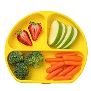 Table-Tot 3-Compartment Plate for Kids, Baby-Safe Silicone, Suction Plates for Toddlers by Juliaire (Lemon)…