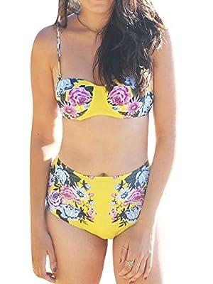 Women Sexy Spaghetti Halter Strap Floral Printed High-Waisted Push Up Bra Bikini Set