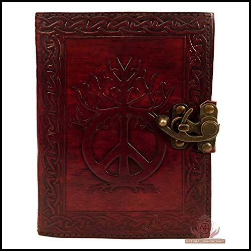 Handmade Leather Journal Book of Shadows Sign of Peace Embossed Notebook Diary Appointment Organizer Writing Handbook Daily Planner Diary College Sketchbook 5 x 7 inches for Men and ()