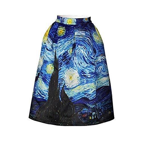Hamrank Van Gogh Starry Night Skater Skirt Quiet Nights Mini Skirt for Women Girl Blue L