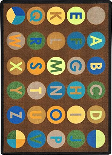 ALPHABET BINGO Premium Cut Pile STAINMASTER Nylon Area Rug (5'4''x7'8'', Earth) by Children's Choice